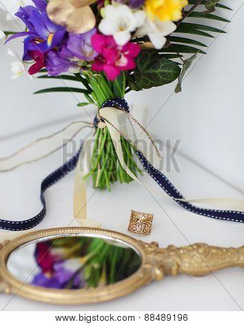 Wedding Details With Wedding Bouquet