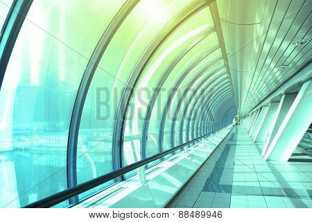 Perspective of long futuristic corridor