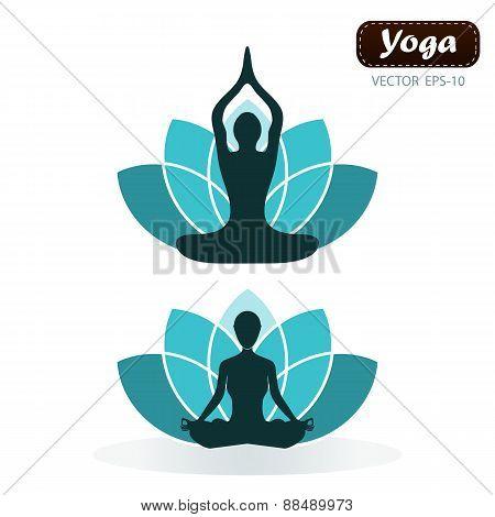 Lotus Flower Yoga Wellness Concept Design Element