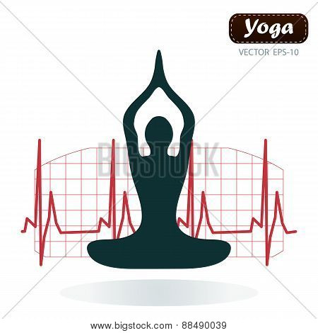 Silhouette Yoga Poses On White Background With Cardiogram - Vector Illustration