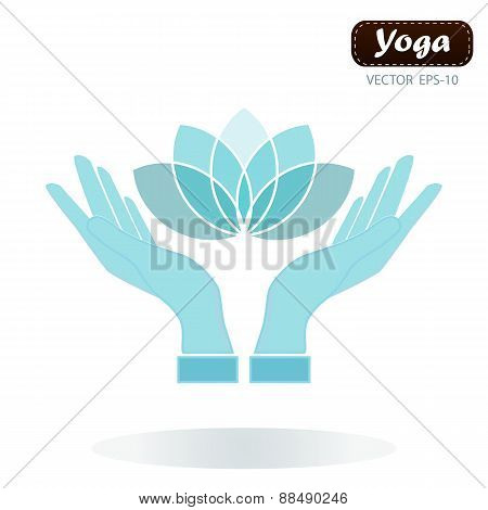 Lotus Flower In Hands Yoga Wellness Concept Design Element