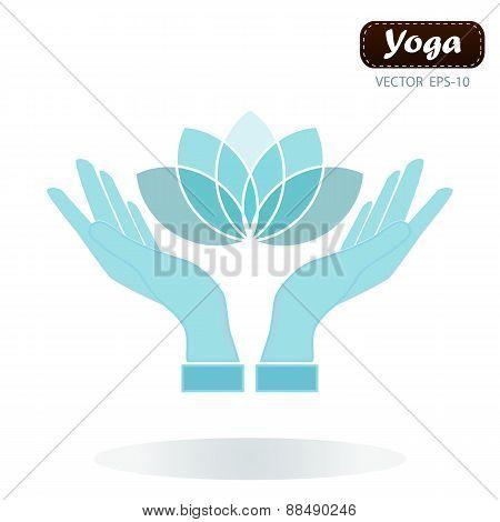 Lotus Flower In Hands Yoga Wellness Concept Design Element