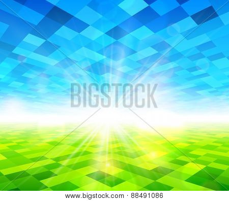 Green field with blue sky checkered background. Vector illustration.