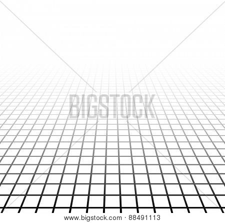 Perspective grid surface. Vector illustration.