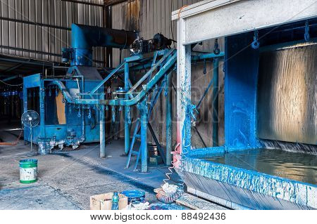factory workshop interior and spraying machines