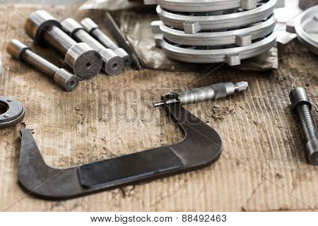 Industrial tools and spare parts,close up.