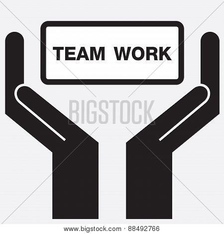 Hand showing team work sign icon.
