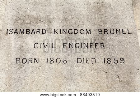 Name Plaque Of The Isambard Kingdom Brunel Statue In London