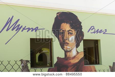 Graffiti of Myrna Baez face.