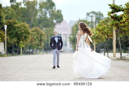 Bride And Groom In Wedding Day In Naples, Italy
