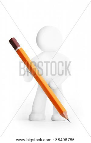 Plasticine man writing with pencil isolated on white background