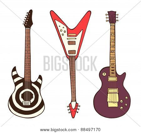 Vector stylized electric rock guitars