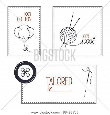 Tailor, cotton and wool products emblems set