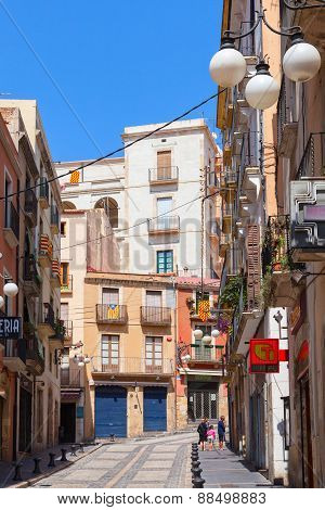 Narrow Street Of Tarragona With Colorful Living Houses