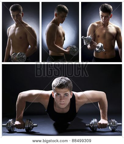 Collage of muscle young sportsman on dark background