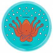 stock photo of mantra  - Funny cartoon octopus singing om mantra  - JPG