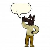 stock photo of werewolf  - cartoon werewolf with idea with speech bubble - JPG