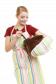 pic of ladle  - Happy housewife or chef in colorful kitchen apron with pot of soup and ladle isolated studio shot - JPG
