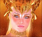 stock photo of ram  - Woman with gold crown - JPG
