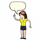 pic of clever  - cartoon woman with clever idea with speech bubble - JPG