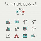 foto of libra  - Business thin line icon set for web and mobile - JPG