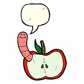 pic of worm  - cartoon apple with worm with speech bubble - JPG