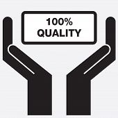 pic of 100 percent  - Hand showing 100 percent quality sign icon - JPG