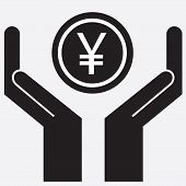 pic of yuan  - Hand showing yen and yuan sign - JPG
