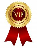 picture of rosettes  - Gold and red award ribbon rosette with VIP membership text inside isolated on white background - JPG