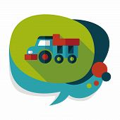 stock photo of dump_truck  - Dump Truck Flat Icon With Long Shadow - JPG