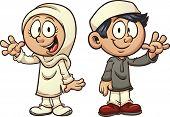 stock photo of muslim kids  - Cartoon Muslim kids - JPG