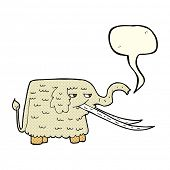 image of mammoth  - cartoon woolly mammoth with speech bubble - JPG