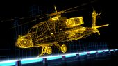 picture of helicopters  - A futuristic wire frame image showing a 3d model of an Apache helicopter - JPG