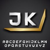 picture of initials  - EPS10 vector silver golden alphabet initials - JPG