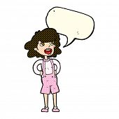stock photo of dungarees  - cartoon woman in dungarees with speech bubble - JPG