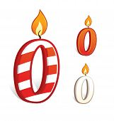pic of zero  - Vector illustration of a birthday candle number zero - JPG