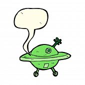 picture of flying saucer  - cartoon flying saucer with speech bubble - JPG