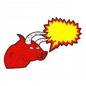 foto of bull head  - cartoon angry bull head with speech bubble - JPG