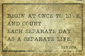 picture of philosophical  - Begin at once to live and count each separate day  - JPG