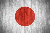 stock photo of japanese flag  - Japan flag or Japanese banner on wooden boards background - JPG