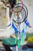 foto of dream-catcher  - Dream catchers closeup image blue green esotericism