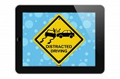 pic of warning-signs  - Warning of Distracted Driving Tablet Phone Warning of Distracted Driving Sign isolated on a white background - JPG