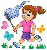 stock photo of chase  - Girl chasing butterflies theme image 1  - JPG