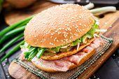 stock photo of scallion  - Burger with potato pancake - JPG