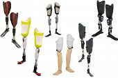 stock photo of artificial limb  -  walking sticks under thew white background  - JPG
