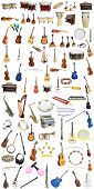 picture of musical instrument string  - Different music instruments under the white background - JPG