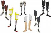picture of artificial limb  -  walking sticks under thew white background  - JPG