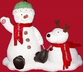 foto of cariboo  - snow man with cariboo over red christmas - JPG