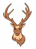 picture of deer head  - Vector stylized flat forest vintage color deer head isolated on white - JPG