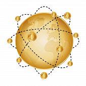 stock photo of bitcoin  - Bitcoin and golden globe design over white background - JPG